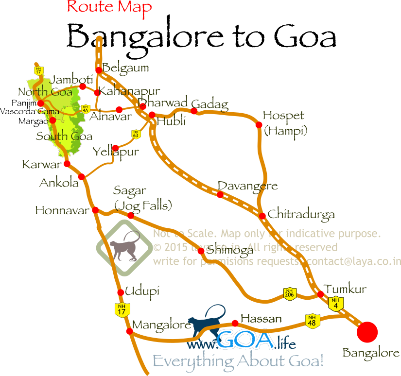 Bangalore To Goa Map Bangalore to Goa Route Map